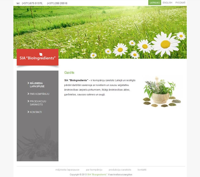 """SIA """"BioIngredients"""" - продажа растительного сырья, Латвия"""